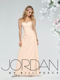 Style #651: Shown in Ice Pink…Side draped chiffon gown with sweetheart neckline. Removable spaghetti straps included. Available in short, knee and floor lengths. Available in sizes 0-34 and Jr. sizes 4-16.