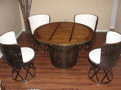 Tequila barrel dinning set with equipale chairs