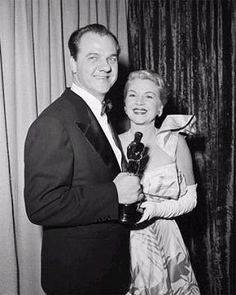 """OSCAR NIGHT - Claire Trevor congratulates Karl Malden for his winning the 'Best Supporting Actor' award for his role in """"A Streetcar Named Desire"""" - Publicity Still. Classic Hollywood, In Hollywood, Les Oscars, Claire Trevor, Karl Malden, Oscar Night, Men Are Men, Actor Studio, Best Supporting Actor"""