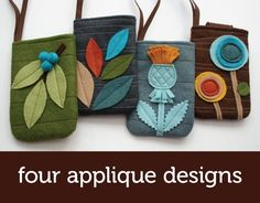 Again, I need someone to make me the thistle bag please.  heehee.    Felt Gadget Cozy PDF pattern with four applique designs