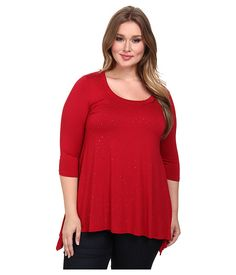 Karen Kane Plus Red Plus Size 3/4 Sleeve Studded Hanky Top  available from Zappos #Red #Studded #Hanky #Top #karenkane #Winter #Holiday #plus_size_fashion #zappos