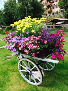 container gardening flower cart for the Country Cottage Garden Outdoor Planters, Diy Planters, Garden Planters, Outdoor Gardens, Planter Ideas, Dream Garden, Garden Art, Garden Design, Garden Projects