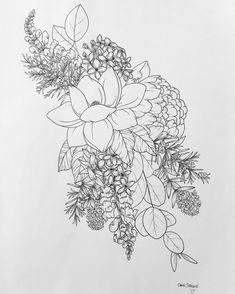 Floral flower drawing black and white illustration pinterest i love the shape over all peony eucalyptus mightylinksfo