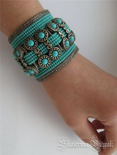 Antique Turquoise, by RavenKet Bead Embroidery Jewelry, Beaded Embroidery, Beaded Jewelry, Handmade Jewelry, Seed Bead Bracelets, Cuff Bracelets, Schmuck Design, Jewelry Crafts, Jewelery