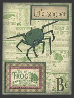 """Texana Designs sample by DTM Janet Bradshaw using our Texana Designs Spider (artwork by Jillian O'Diorne) and """"Let's hang out"""" stamps."""