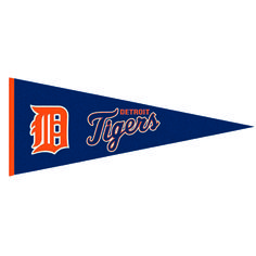 """This beautifully embroidered 32"""" x 13"""" wool pennant commemorates the Detroit Tigers. A """"Must Have"""" for all Detroit Tigers super-fans."""