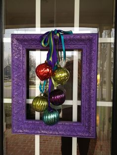 Painted picture frames instead of traditional round wreaths!