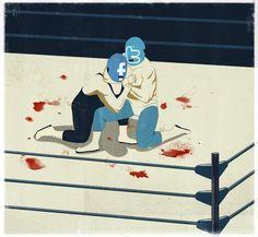 The social networks war,emiliano ponzi illustration