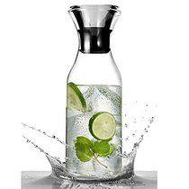 DOOTEE Glaskrug 1,5 Liter Glaskaraffe Wasserkrug aus Borosilikatglas Kühlkaraffe mit Edelstahl Deckel Karaffe Glaskanne