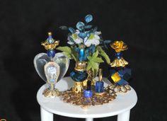 Handmade Dollhouse Miniature Vanity/Toiletries, Miniature Perfume, Dollhouse Mini Bottles, Mini Perfume, Royal Blue and Gold Set