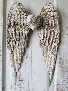 Angel wings distressed rust metal white w/ gray hints embellished rhinestone heart shabby farmhouse wall hanging decor anita spero design
