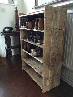 Hallway shoe rack made to order from reclaimed by DoesGrowOnTrees