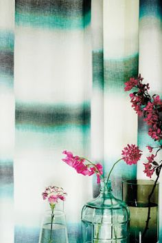 Ombra from Romo's Black Edition was hand-painted then digitally printed on a soft linen recalling athmospheric abstract landscapes and elegantly weathered paint effects Weathered Paint, Green Curtains, Interior Design Magazine, Black Edition, Printed Linen, Fabric Wallpaper, Paint Designs, Soft Furnishings, Fabric Design