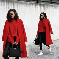 Winter Fashion 99 in 1 - Winter Fashion Red Coat Outfit, Winter Coat Outfits, Winter Fashion Outfits, Red Fashion, Sweater Fashion, Look Fashion, Stylish Outfits, Winter Outfits, Red Sweater Outfit