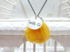 Smile  :) - Sterling silver necklace - Handmade - Positive energy. €62,00, via Etsy.