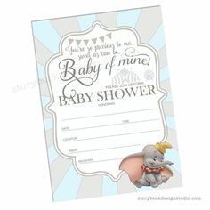 Dumbo Baby Shower Invitations Awesome Dumbo Baby Shower Fill In Invitations – Storybook Design Studio Dumbo Baby Shower, Floral Baby Shower, Invitation Examples, Emoji, Baby Shower Invitation Templates, Create Your Own Invitations, Baby Disney, Fill, Shower Ideas
