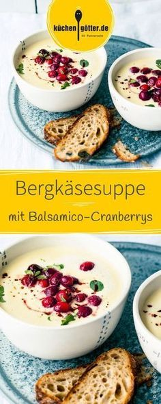 Mountain cheese soup with balsamic cranberries - Rezepte: Suppen & Eintöpfe,Bergkäsesuppe mit Balsamico-Cranberrys The recipe for this creamy mountain cheese soup is prepared very quickly and easily finished. Served with arom. Healthy Crockpot Recipes, Healthy Dessert Recipes, Soup Recipes, Easy Snacks, Easy Meals, Healthy Vegetarian Breakfast, Recipes Breakfast Video, Healthy Low Calorie Meals, Cheese Soup