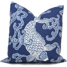 Add a Pop O Blue to your decor with this playful koi fish pillow cover. Looks great paired with other blues or as an accent color in a room that is