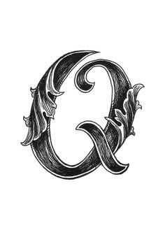 Leaf Script Q Art Print