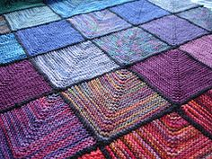 modular mitered knitting | ... (The Bees) Tags: rainbow squares knit blanket afghan mitered mitred
