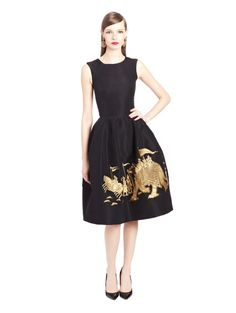 Oscar de la Renta. Elephant Embroidered Silk Faille Cocktail Dress
