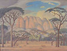 A painting entitled 'Kransberg, Rustenberg, Transvaal' made the top price at the Bonhams the international auction house in London this week when the landscape by Jacob Hendrik Pierneef sold for Landscape Art, Landscape Paintings, Landscapes, African Paintings, Bonsai Art, South African Artists, Africa Art, Art And Craft Design, Witch Art