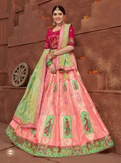 carrot Red colour lahenga and rani colour choli with embroidery Silk Lehenga, Saree, Lehenga Collection, Fabric Shop, Wedding Wear, Pink Color, Party Wear, Gowns, Vestidos