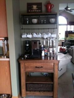 Coffee bar from kitchen island plan| Do It Yourself Home Projects from Ana White