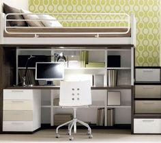 lit mezzanine et bureau avec escalier-tiroirs pour rangement