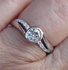On Sale for $1099 - 1/2 Carat Bezel Set Diamond Engagement Ring 14K White Gold Low Profile Setting Classic Traditional Modern