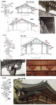 The framing of the roofs is of a most elementary character, in which there is no attempt at trussing, and balks of timber of immense scantling were piled one on the other to an extent unknown in any other country. This necessitated columns of great size, the employment of brackets to lessen the bearing of the great beams, and, in order to carry the widely projecting eaves, the assemblage of a series of bracket corbellings.