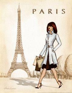Chica en Paris  Chicas y ciudades para imprimir