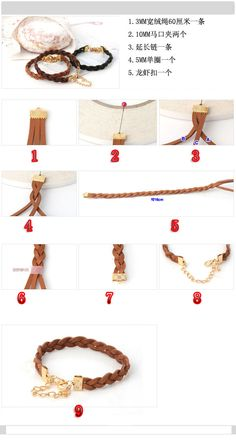 Braided leather cord bracelet making tutorial