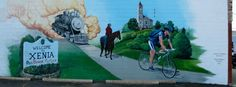 Trails Mural in Xenia, Ohio - Design by Rob Richards, Mural by Keith Hasenbalg. Xenia Ohio, Past Present Future, Mount Rushmore, Alan King, Ribbon, Spaces, Design, Tape, Band