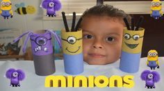Hello friends today we are going to show you a fun project DIY easy to make .  The Materials that you need are :  3 Toilet paper rolls, googly eyes, glue, black marker,scissors,Pipe cleaners Piper cleaners (purple and Black), purple & yellow paint, Constrution paper   have fun and enjoy   Hola como están espero muy bien   Hoy haremos los minions