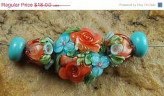 On Sale Glass Lampwork Beads Aqua Peachy Flower by carolynsbeads, $14.40