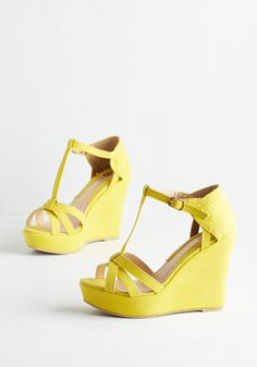 Platforms and Functions Wedge in Lemon - High, Faux Leather, Yellow, Solid, Daytime Party, Spring, Good, Platform, Wedge, T-Strap, Variation