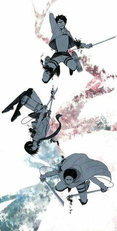 Attack on titan,shingeki no kyojin  Levi ackerman,mikasa,eren jaeger