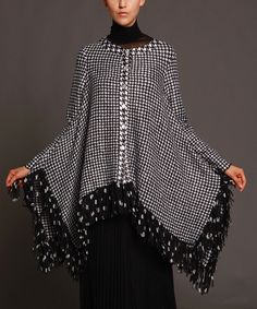 Look at this Black & White Houndstooth Ruffle Poncho - Women & Plus on #zulily today!