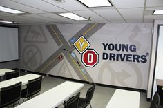 Young Drivers of Canada's lecture room was very dated so they called upon Mural Magic to bring it into the new millennium! This design was hand painted by Mural Magic in Ottawa. Mural Painting, Ottawa, Murals, Hand Painted, Magic, Business, Room, Inspiration, Design