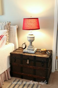 Guestroom Reveal - Savvy Southern Style: Guest Room Reveal…link to a cute travel themed guest room - Old Trunks, Vintage Trunks, Trunks And Chests, Antique Trunks, Beddinge, Savvy Southern Style, My New Room, Apartment Living, Sweet Home