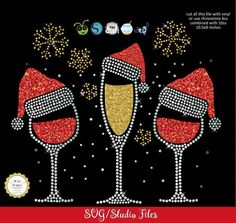 Christmas Wine glasses svg, rhinestone, studio files for cricut, silhouette and Christmas Cover, Christmas Rock, Christmas Svg, Christmas Greetings, Christmas Time, Christmas Mandala, Quilling Christmas, Dot Art Painting, Painting For Kids