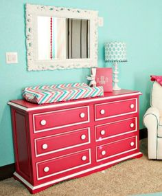 DIY Refinished dresser & changing table ~ raspberry teal white #baby #room #nursery #ideas #inspiration #tween #girl #bedroom