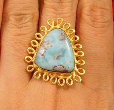 20 Carat. Gold Plated Caribbean Larimar Handmade Adjustable Ring Jewelry NJC2402 #Handmade