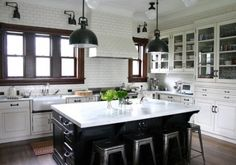 white subway tile with black grout kitchen