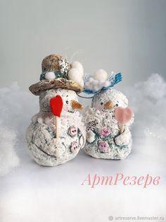 Лепим с детьми нежных снеговичков из папье-маше - Ярмарка Мастеров - ручная работа, handmade