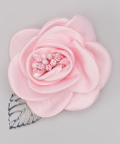 Light Pink Satin Rose Hair Clip #zulily #zulilyfinds