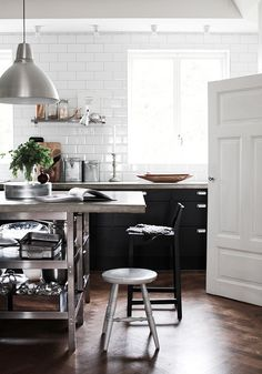 Daniela Witte / Skona Hem {black, white and stainless steel eclectic vintage industrial kitchen} by recent settlers, via Flickr