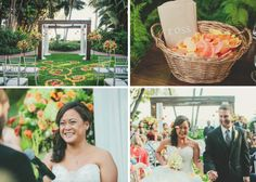 Wedding at Four Seasons Santa Barbara in Mariposa Garden for Ceremony and El Mar and La Marina for dinner and dancing