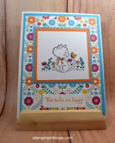 Stampin' Up! CAS Birthday card made with Hello Kitty stamp set and designed by Demo Pamela Sadler. See more cards at stampinkrose.com #stampinkpinkrose